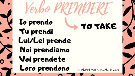coniugazione del verbo prendere in italiano conjugation of the verb to take in italian prendere