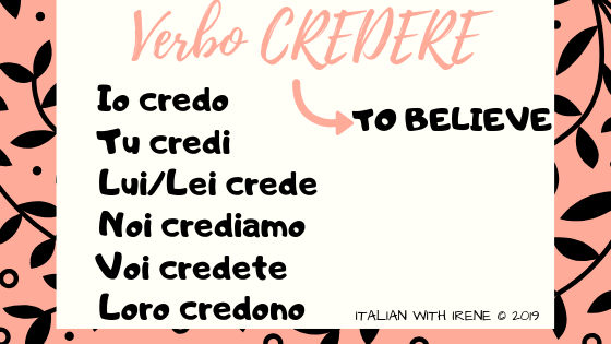present tense of the verb credere to believe in italian
