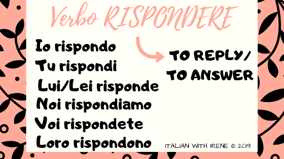 present tense of the verb rispondere to reply to answer in italian